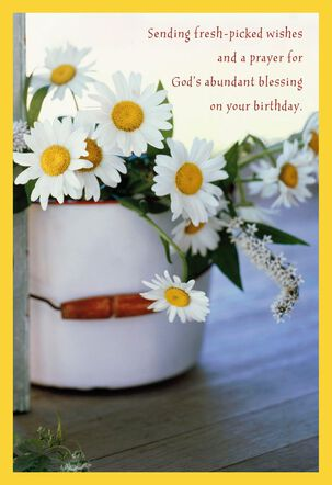 Bucket of Daisies Religious Birthday Card
