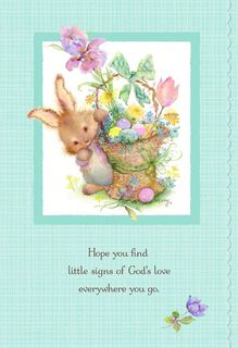 Bunny and Basket of Flowers Signs of God's Love Easter Card,