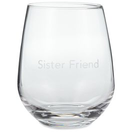 Sister Friend Stemless Wine Glass, 20 oz., , large