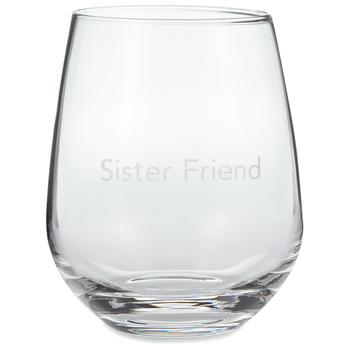 sister friend stemless wine glass 20 oz