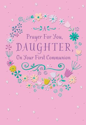 Floral Framed Daughter First Communion Card
