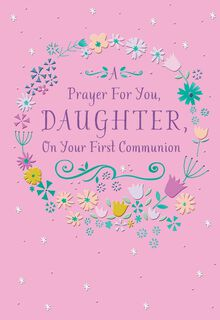 Floral Framed Daughter First Communion Card,
