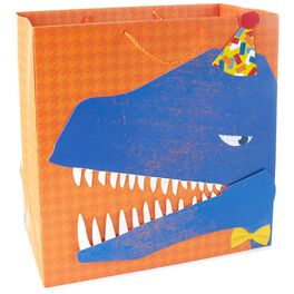 "Blue Dinosaur in Party Hat and Bow Tie X-Deep Gift Bag, 15"", , large"