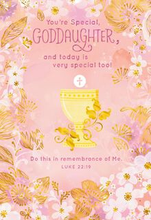 Chalice and Flowers First Communion Card for Goddaughter,