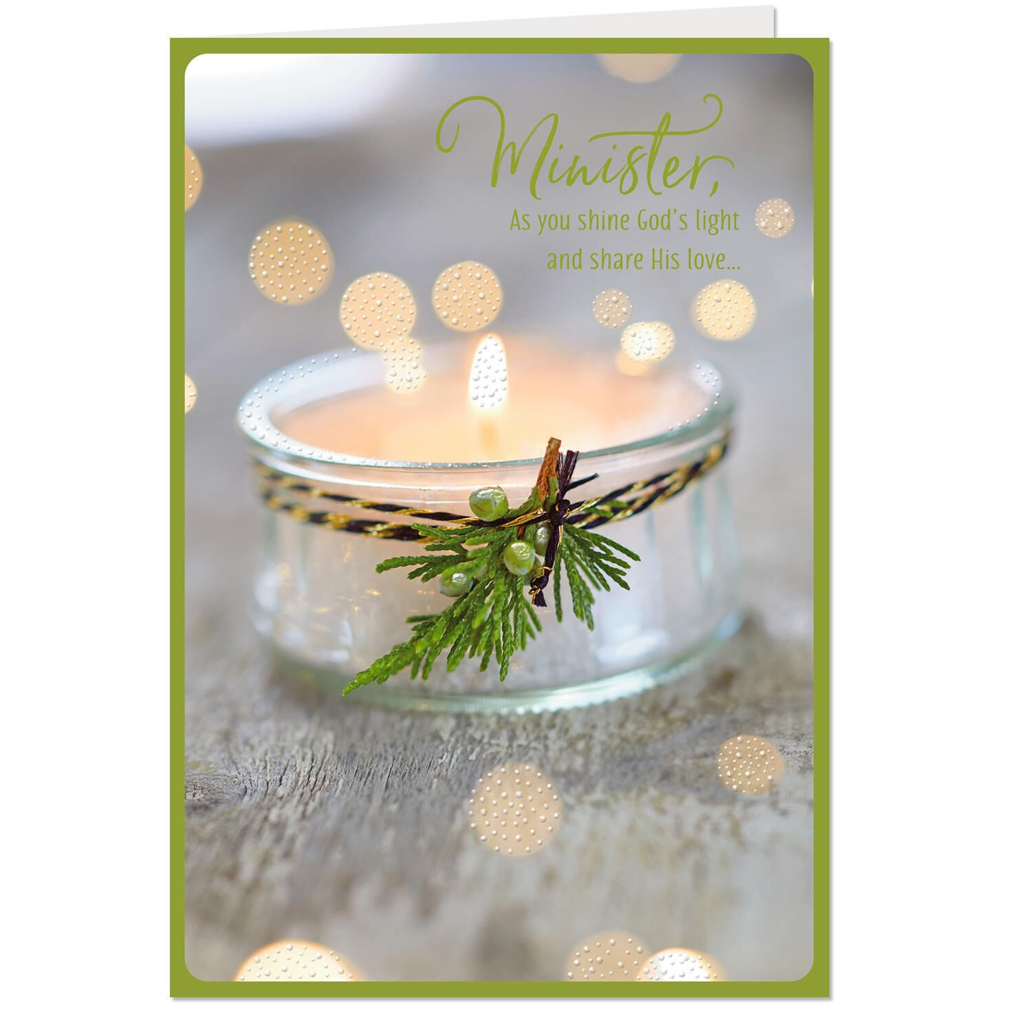 Religious Christmas.Your Faithful Example Glowing Candle Religious Christmas Card For Minister