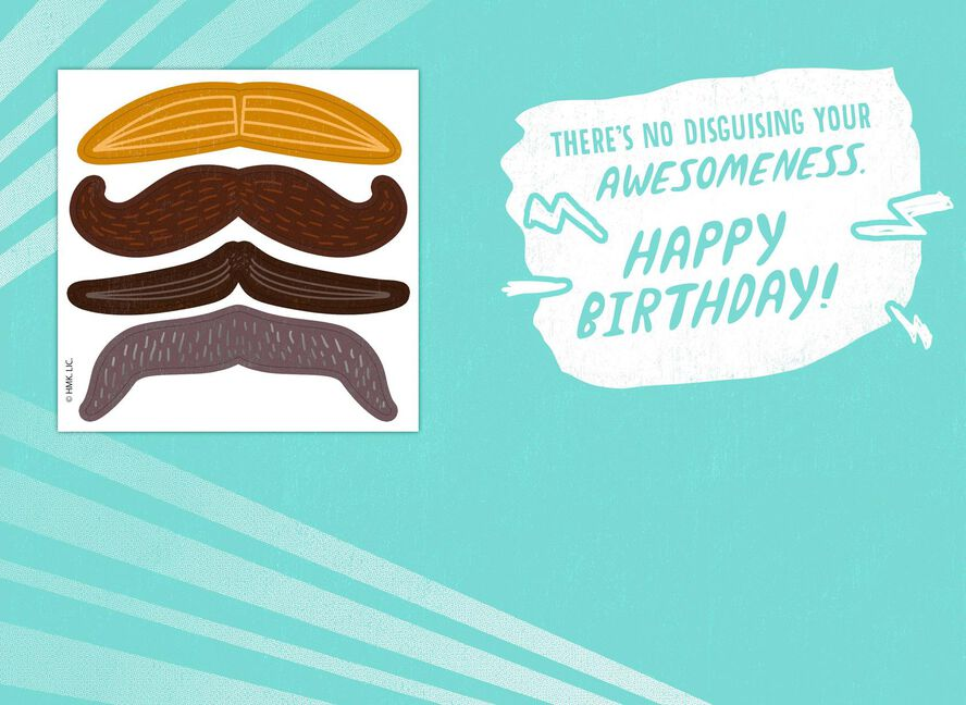 Awesome Mustache Stickers Birthday Card Greeting Cards Hallmark