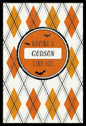 Orange Argyle Halloween Card with Customizable Male Relative Stickers
