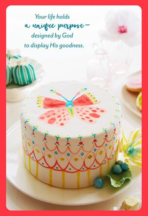 Butterfly on Birthday Cake Religious Birthday Card