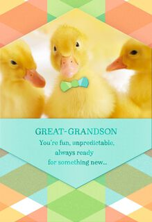 Duck With Bowtie Easter Card for Great-Grandson,