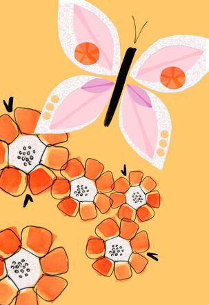 Pink Butterfly and Orange Flowers Blank Card