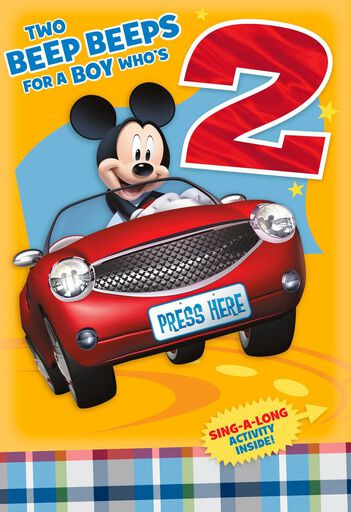 Mickey Mouse 2nd Birthday Card With Sticker