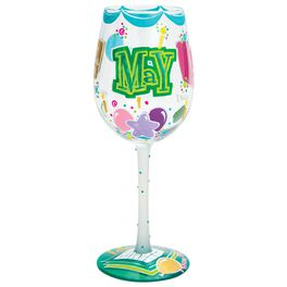 Lolita® May Happy Birthday Handpainted Wine Glass, 15 oz., , large