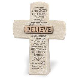 Believe Religious Stone Cross - Romans 15:13, , large