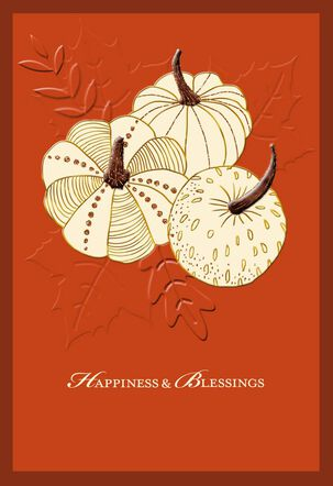 Pumpkins Happiness and Blessings Thanksgiving Card