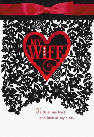 Black Floral Lace Wife Valentine's Day Card