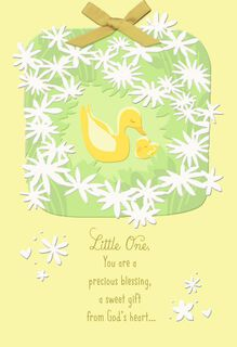 Baby Duck Religious First Easter Card,