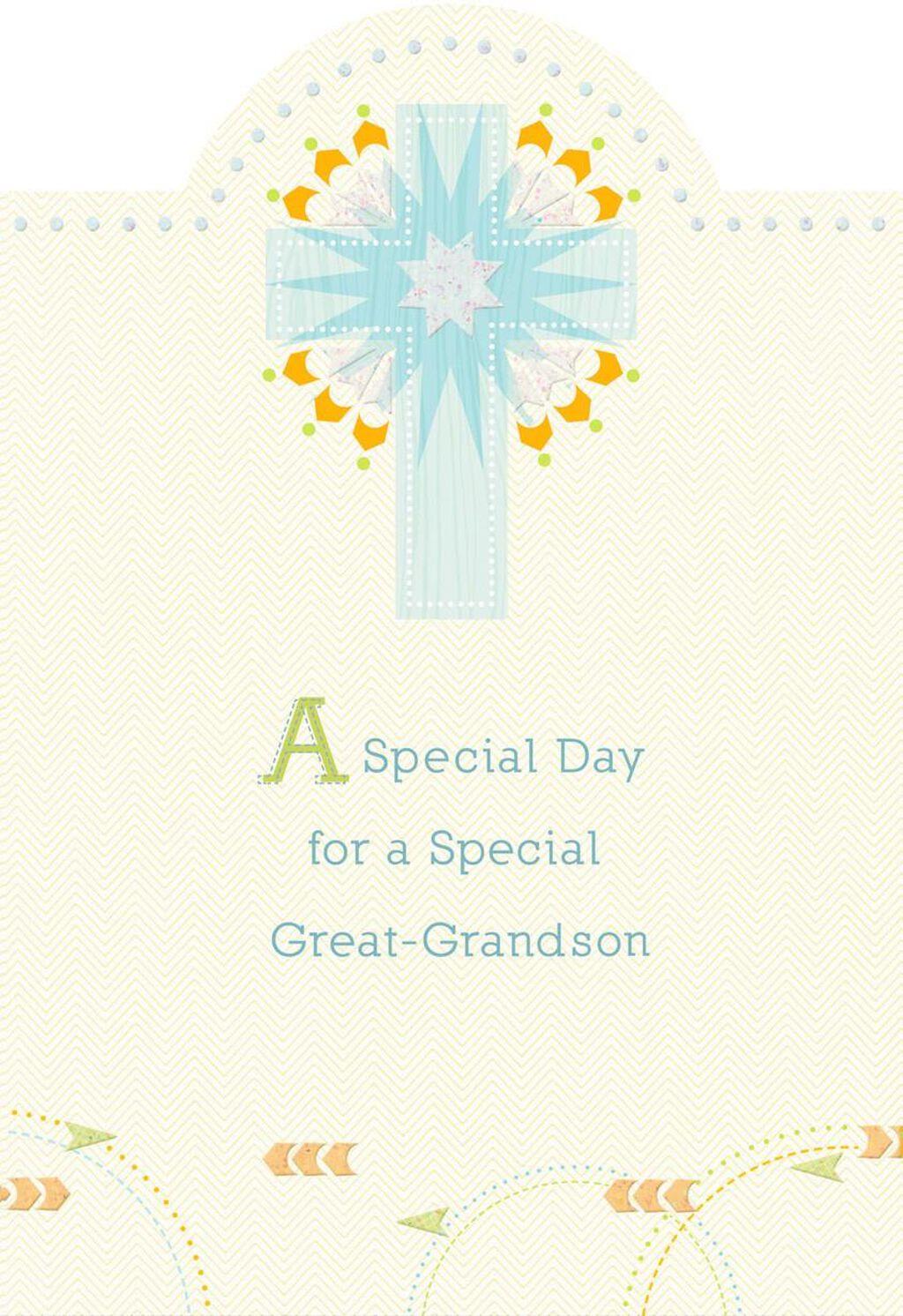 Blue Starburst Cross First Communion Card For Great Grandson