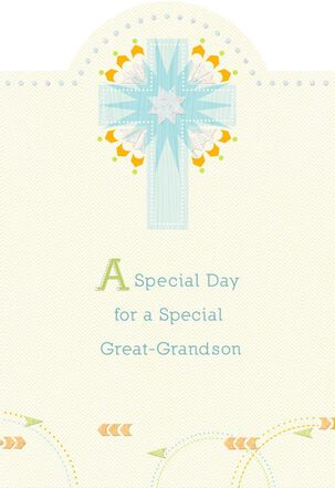 Blue Starburst Cross First Communion Card for Great-Grandson