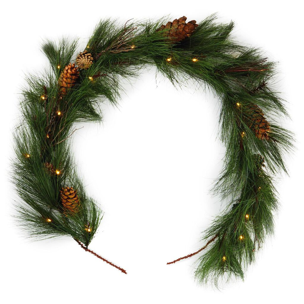 Christmas Pine Garland.Faux Pine Garland With Lights 5