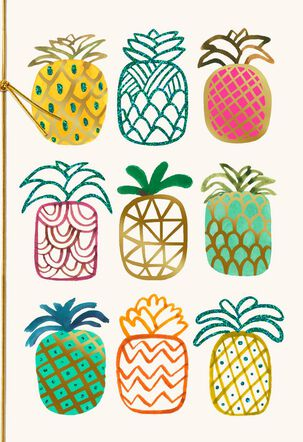 Pineapples Blank Thinking of You Card