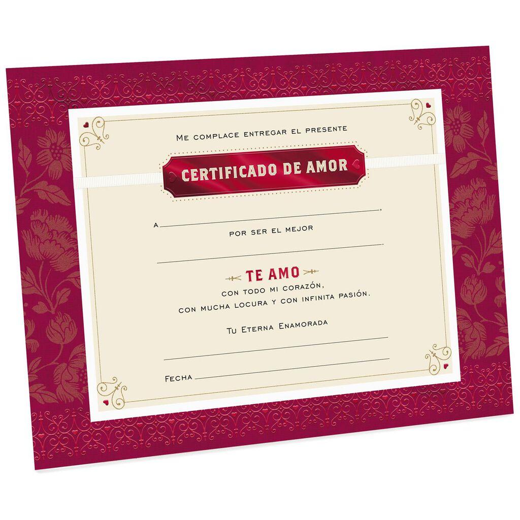 Certificate Of Love Large Spanish Language Card 12 Greeting
