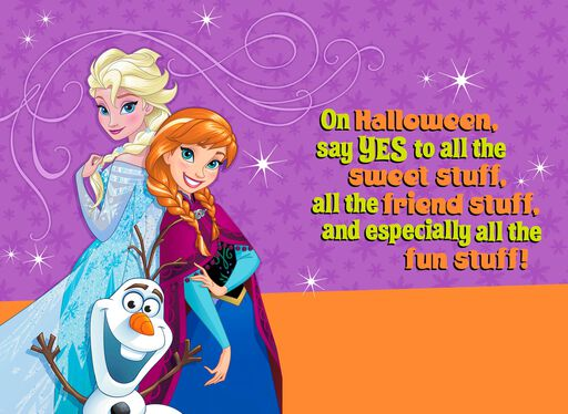 Disney Frozen Elsa, Anna and Olaf Halloween Wishes Card,