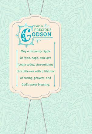 Blue Banner Godson Baptism Card