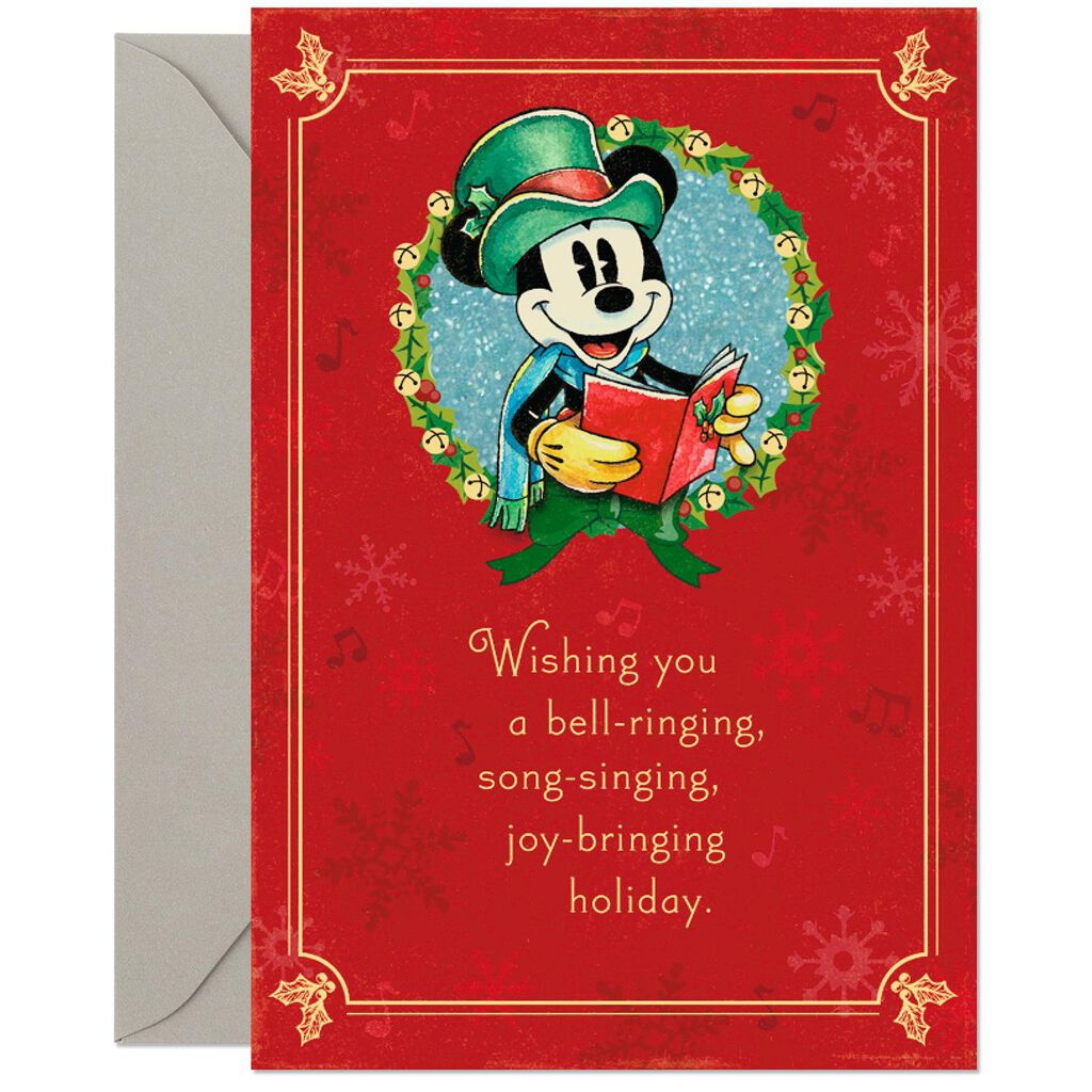 Disney Mickey Mouse Bell-Ringing Christmas Card - Greeting Cards ...