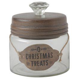 """O Christmas Treats"" Small Glass Cookie/Candy Jar, , large"