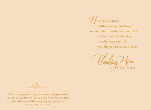 Thanking Him for You Religious Birthday Card,