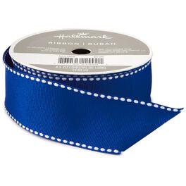 "Blue Saddle Stitch 1 1/4"" Grosgrain Ribbon, 4.3 yards, , large"