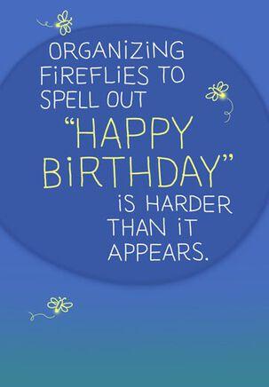 "Fireflies Spell ""Happy Birthday"" Funny Card"