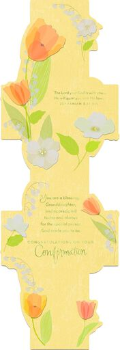 Tulip Flowers and Cross Confirmation Card for Granddaughter,