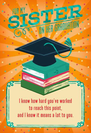 Mortarboard and Books Graduation Card for Sister