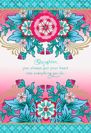 Catalina Estrada Pink Flowers With Blue Mother's Day Card for Daughter