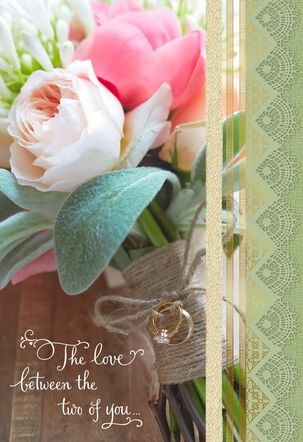Bouquet and Rings Wedding Card for Son and Daughter-in-Law