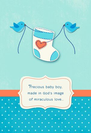 Birds Sewing Religious New Baby Boy Card