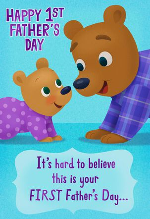 Papa Bear and Cub Happy 1st Father's Day Card