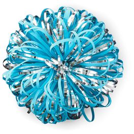 "Turquoise and Silver Metallic Pom Pom Gift Bow, 5"", , large"