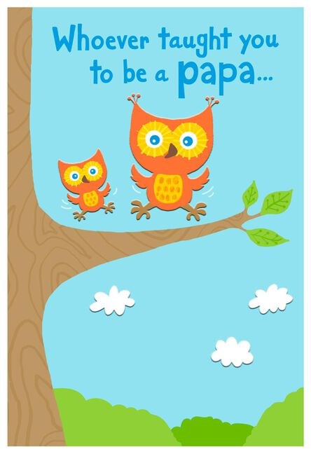 papa owl and baby owl grandparents day card for papa greeting