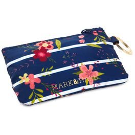 Mark & Hall Navy Floral Stripe Nylon Zip ID Case, , large