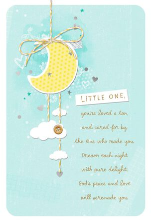 Moon With Hearts and Stars Baby Boy Christening Card