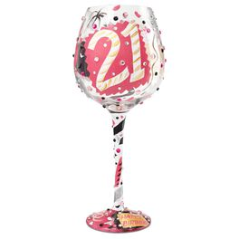 Lolita® 21 Super Bling Handpainted Wine Glass, 22 oz., , large