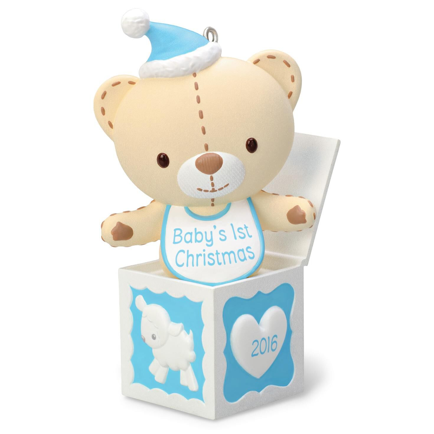 Baby Boy's First Christmas Teddy Bear in the Box Ornament ...