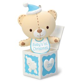 Baby Boy's First Christmas Teddy Bear in the Box Ornament, , large