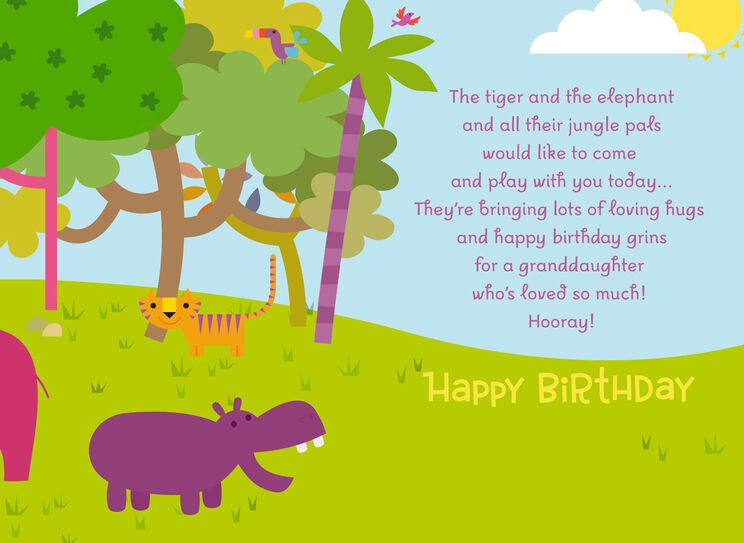 Jungle Animals Birthday Card With Coloring Activity For