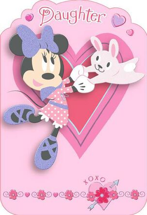 Minnie Mouse Fun Daughter Valentine's Day Card