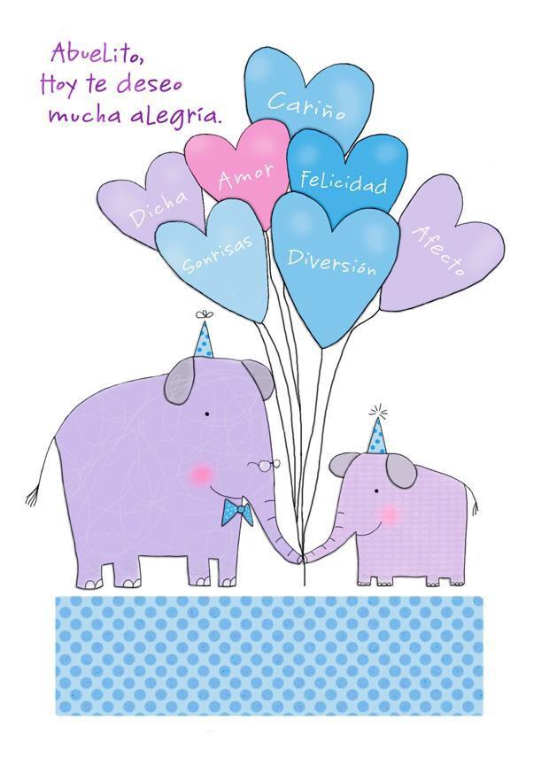 Elephants and Balloons SpanishLanguage Grandpa Birthday Card
