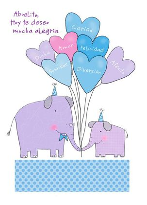 Elephants and Balloons Spanish-Language Grandpa Birthday Card