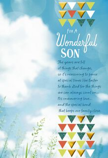 Blue Sky Religious Easter Card for Son,